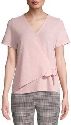 Time and Tru Women's Short Sleeve Wrap Top