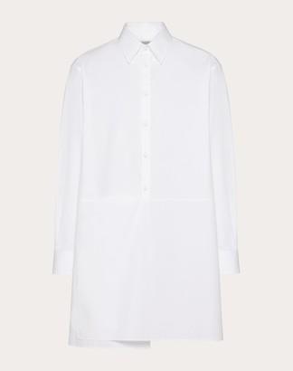 Valentino Shirt With Panel Detailing Man Optic White 100% Cotone 38