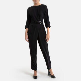 Molly Bracken Belted Jumpsuit with 3/4 Length Sleeves