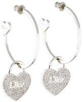 Christian Dior Crystal Heart Lock Hoop Earrings