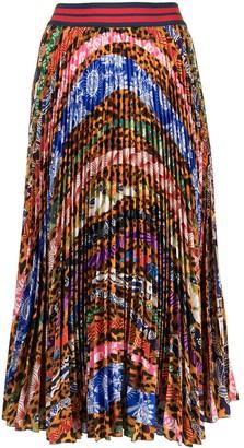 Stella Jean Mix-Print Pleated Skirt