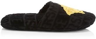 Versace Logomania Faux Fur Slippers