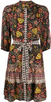Saloni batik-trim silk dress