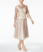 Alex Evenings Petite Embroidered Tea-Length Dress