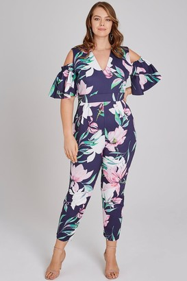 Girls On Film Curvy Aske Navy Floral-Print Cold-Shoulder Jumpsuit