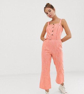 Glamorous Petite jumpsuit with belt in textured fabric-Orange