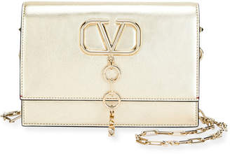 Valentino Garavani V Case Small Metallic Leather Shoulder Bag