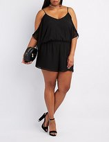 Charlotte Russe Plus Size Ruffle Cold Shoulder Romper