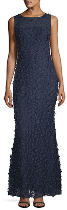Karl Lagerfeld Paris Embellished Floral Lace Gown