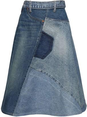 Junya Watanabe Cotton Denim Patchwork Skirt