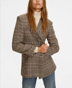 MANGO Fringed Wool Blazer