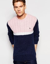 Jack Wills Cable Knit Colourblock Jumper With Merino