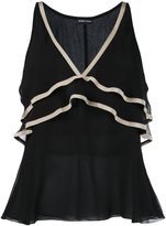 Emporio Armani vest with contrast colour neck and frill detail - women - Polyester/Silk/Viscose/Cotton - 42