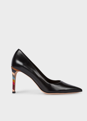 Paul Smith Women's Black Leather 'Annete' Heels With Swirl Heel