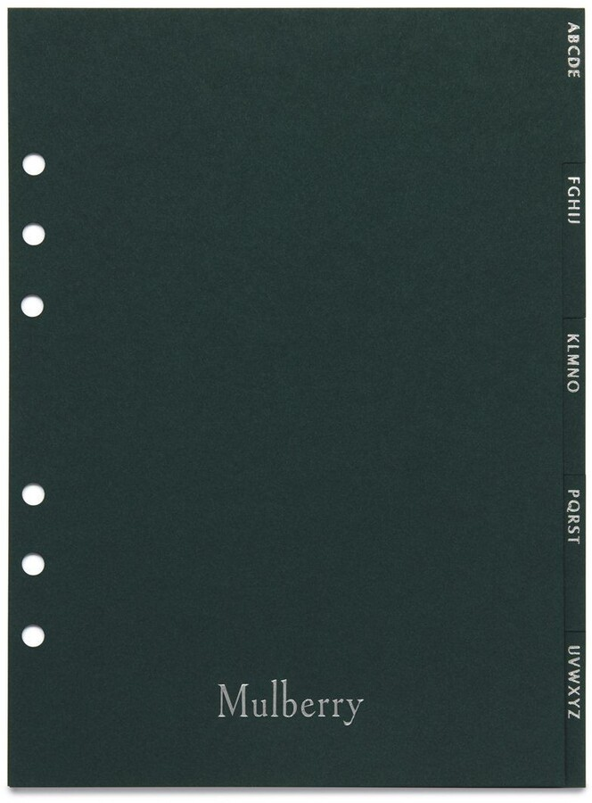 Mulberry Agenda Contacts Dividers Green Paper