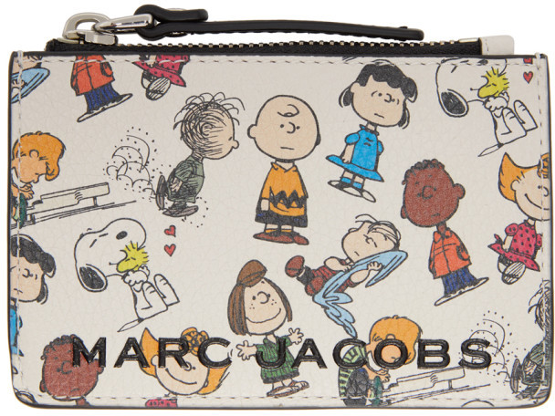 Marc Jacobs White Peanuts Edition Top Zip Card Holder