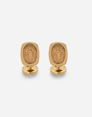 Dolce & Gabbana Devotion Yellow Gold Cufflinks With A Red Gold Virgin Mary Medallion.