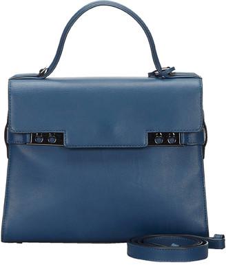 Delvaux Blue Leather Tempete MM Satchel