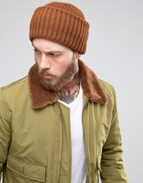 Asos Ribbed Fisherman Beanie In Tobacco