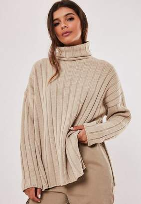 Missguided Stone Extreme Rib Turtle Neck Side Split Sweater