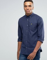 Lyle & Scott Buttondown Flannel Shirt In Regular Fit In Navy Marl