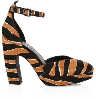 Rebecca Minkoff Deetra Tiger-Stripe Calf Hair Platform Pumps
