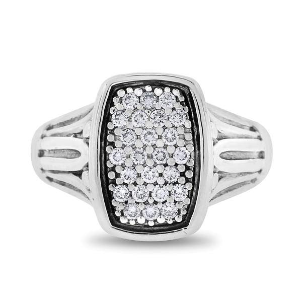 David Yurman Silver 925 18k Gold 0.25 Ct. Authentic Caviar Ring Size 6.75