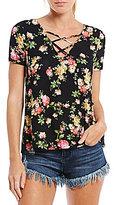 Timing Floral Print Criss-Cross Short-Sleeve Top