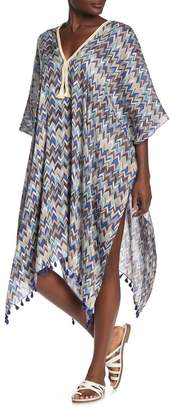 Pool' POOL TO PARTY Chevron Print Kaftan Cover-Up