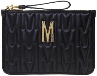 Moschino Flat Quilted Leather Pouch Color Black