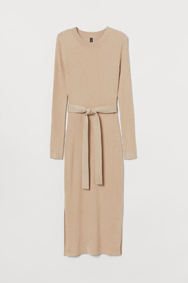 H&M Rib-knit Dress - Beige
