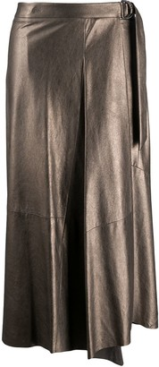 Brunello Cucinelli Asymmetric Metallic Pleated Skirt
