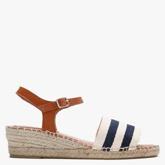 Carmen Saiz Navy & White Canvas Nautical Low Wedge Espadrille Sandals