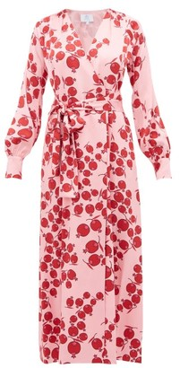 Rebecca De Ravenel Claire Pomegranate-print Silk-satin Wrap Dress - Pink Multi
