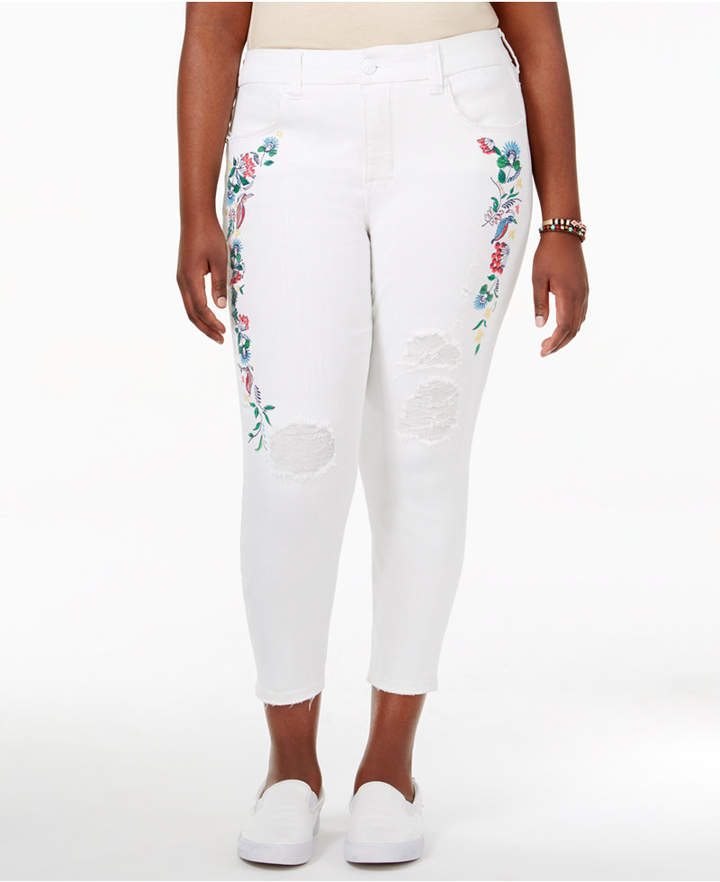 Melissa McCarthy Trendy Plus Size Carmen Wash Embroidered Cropped Jeans