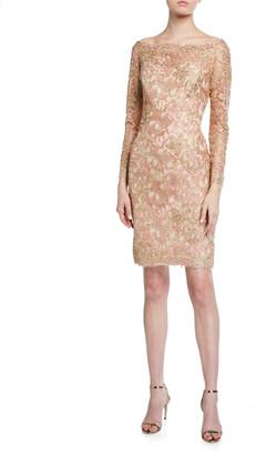 Tadashi Shoji Off-the-Shoulder Long-Sleeve Lace Dress