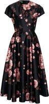 Rochas Floral-Print Satin Dress
