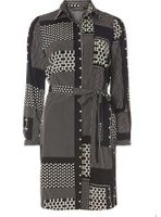Dorothy Perkins Womens Black And White Heart Patchwork Shirt Dress- Black