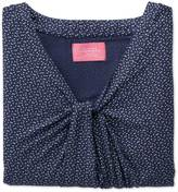 Charles Tyrwhitt Women's navy and white spot printed knot detail jersey top