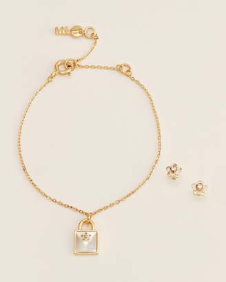 Michael Kors Gold-Tone Padlock Pendant Bracelet & Stud Earrings Set