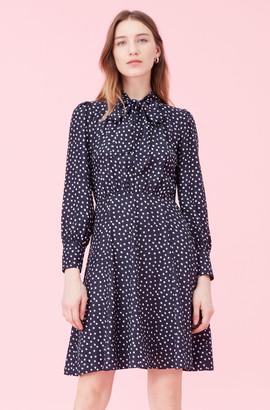 Rebecca Taylor Blurry Heart Silk Jacquard Dress