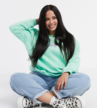 Daisy Street Plus oversized sweatshirt with whoops print in pastel