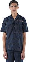 Kolor Men's Textured Stripe Short Sleeved Shirt In Navy