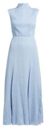 Emilia Wickstead Iona Cotton-blend Cloque Maxi Dress - Womens - Light Blue