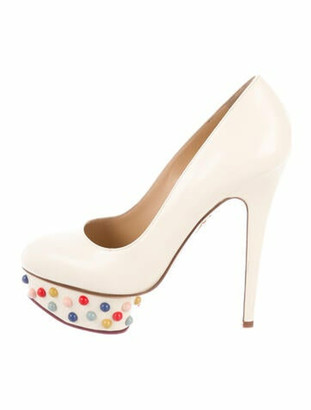 Charlotte Olympia Leather Studded Accents Pumps