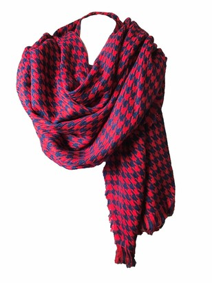 Samanthajane Clothing Samanthajane Womens Ladies Dogtooth Houndstooth Scarf Pasmina Wrap Shawl UK Seller (175cm x 76cm red)