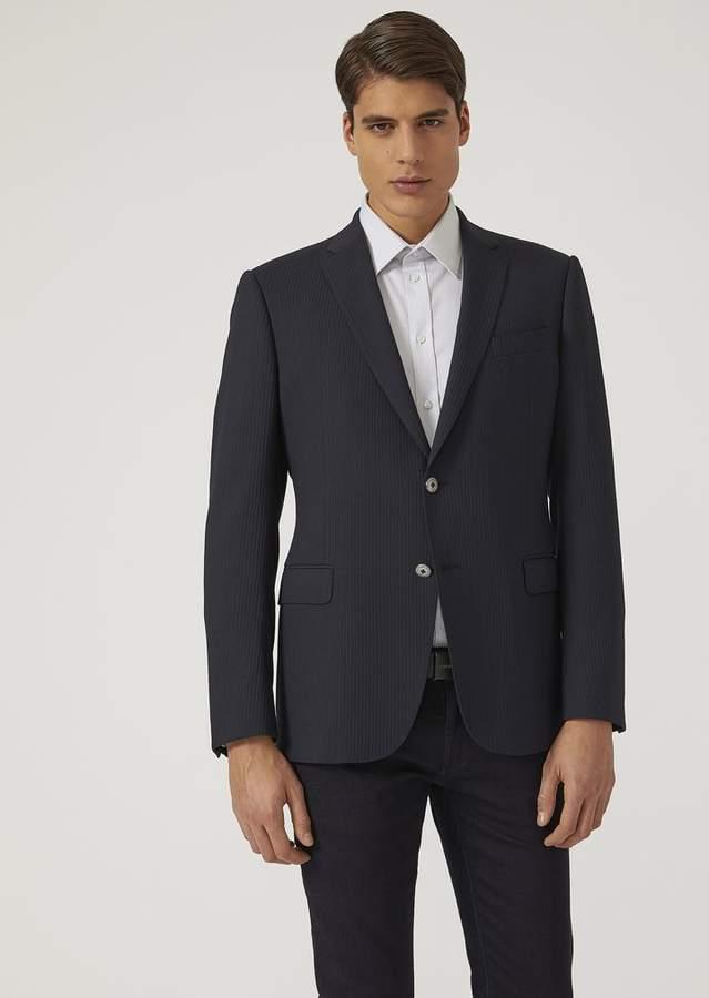 Emporio Armani Single-Breasted Jacket In Crepe