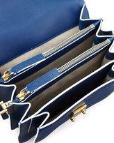 Marni Flap Top Triple-Gusset Shoulder Bag, Navy