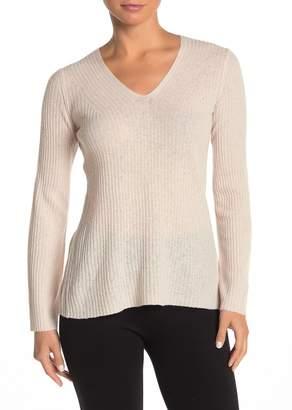 Vince V-Neck Ribbed Wool Blend Sweater