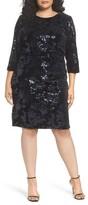 Eliza J Plus Size Women's Sequin Velvet Sheath Dress